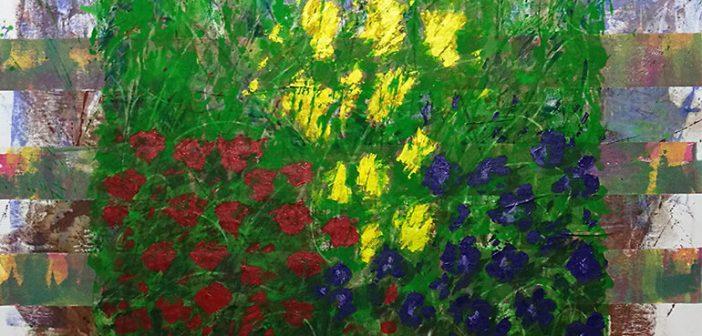 Coquelicots et Genêts - Le Jardin d'Adèle - acrylique sur toile - 90x130cm Mai 2020
